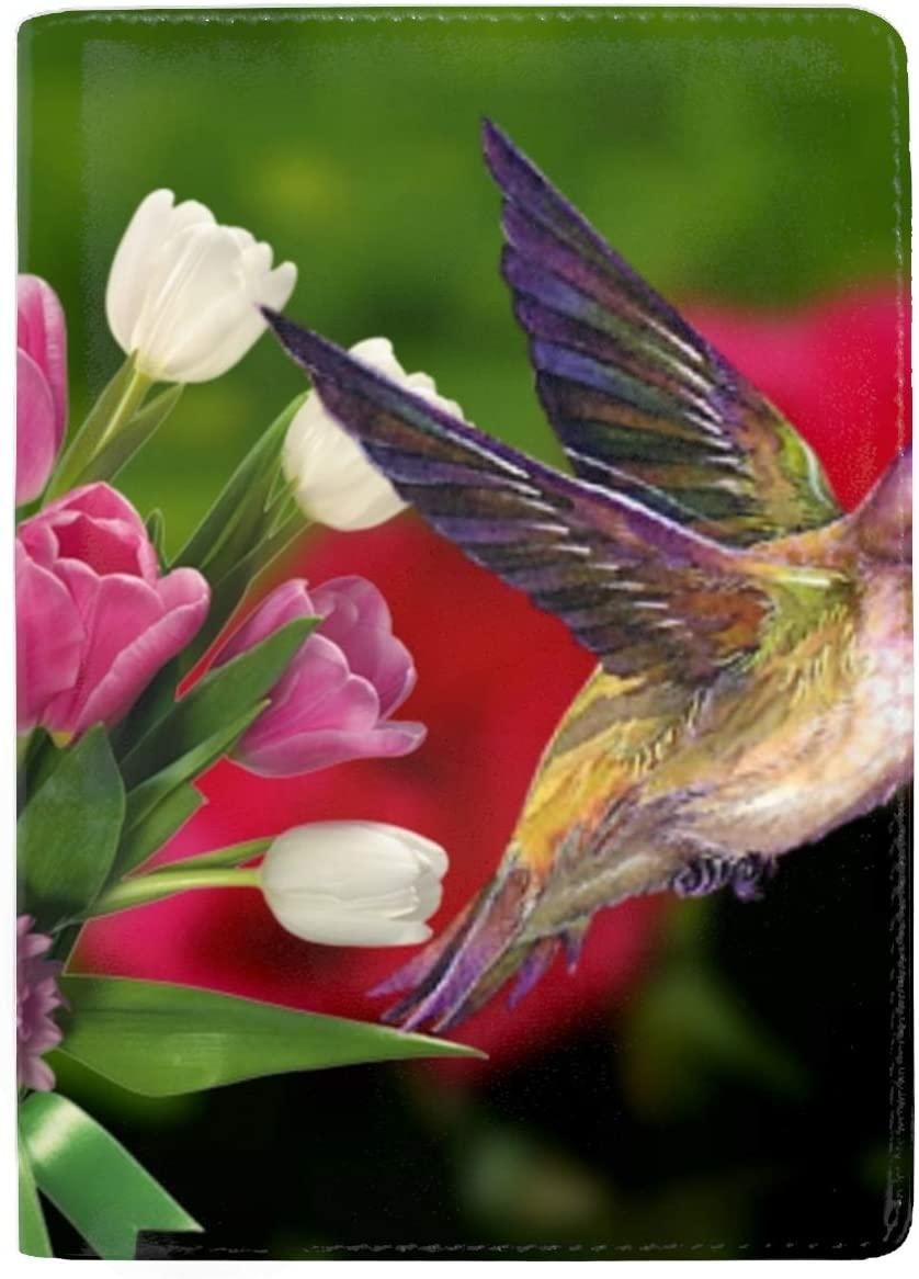 Leather Passport Cover - Passport Holder Case for Men & Women Pink Roses Hummingbird