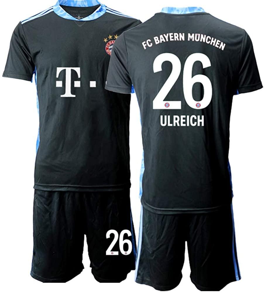 WEIFENG Kids 20/21 ULREICH 26# Soccer Jersey T-Shirt and Sports Shorts Suit -Black