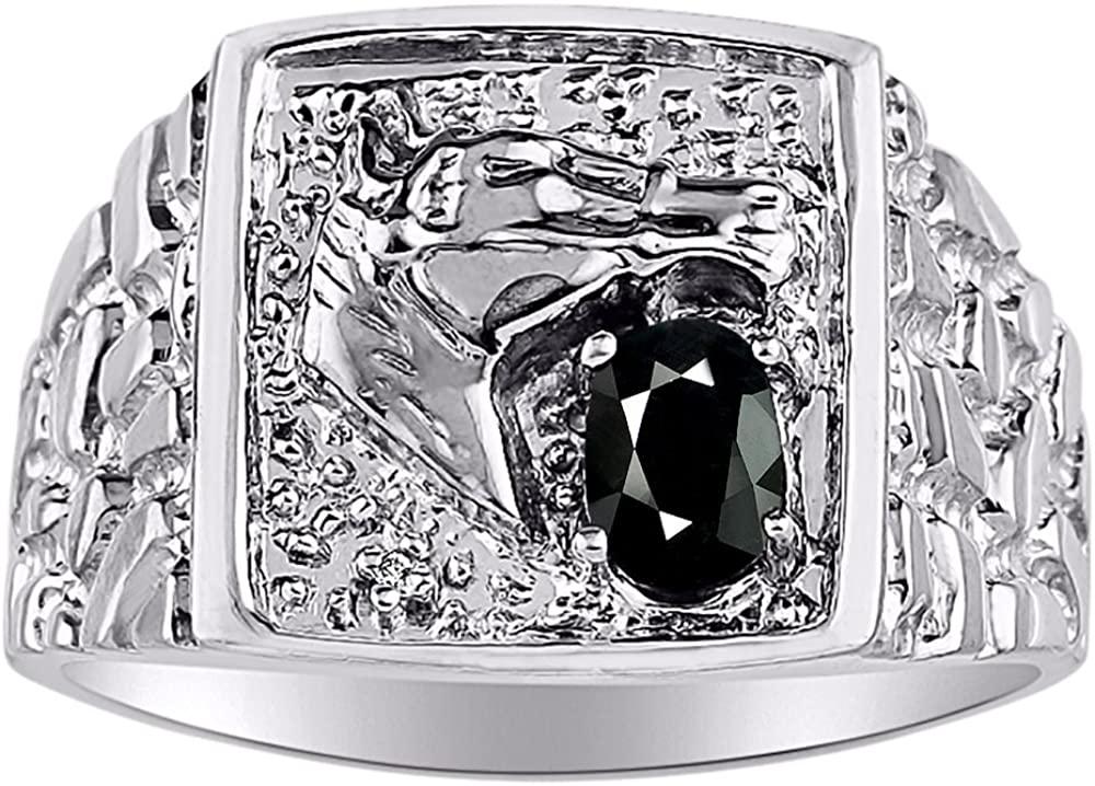 Diamond & Onyx Ring 14K Yellow or 14K White Gold Lucky Horse Head