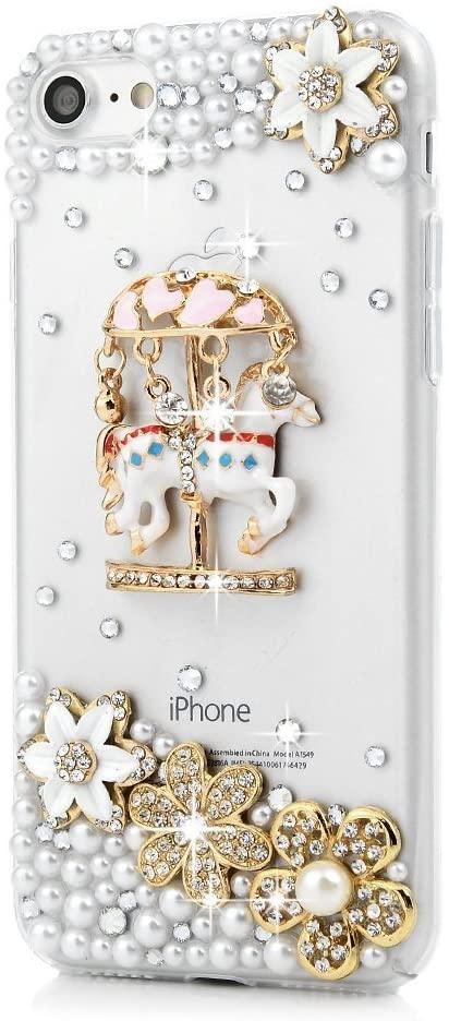 STENES Google Pixel 2 Case - 3D Handmade Luxury Series Crystal Carousel Flowers Sparkle Rhinestone Cover Bling Case For Google Pixel 2 Retro Bowknot Dust Plug - White