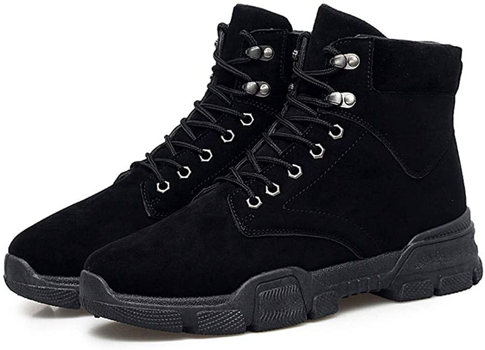 LHY Men's Shoes, Autumn Winter Martin Boots Warm Plus Velvet British Wind to Help Wild Mid-top Snow Boots