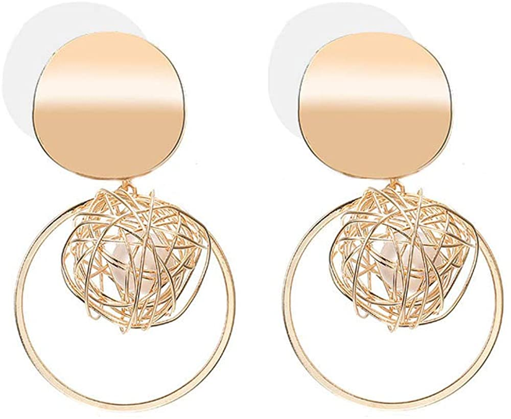 BELUCKIN Geometric Double Big Round Curved Dangle Earrings with Circle Drop Earring Ear Jewelry for Women Girls (Coin Ball-Gold)