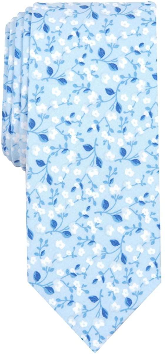 Bar III Mens Vine Floral Cotton Floral Neck Tie