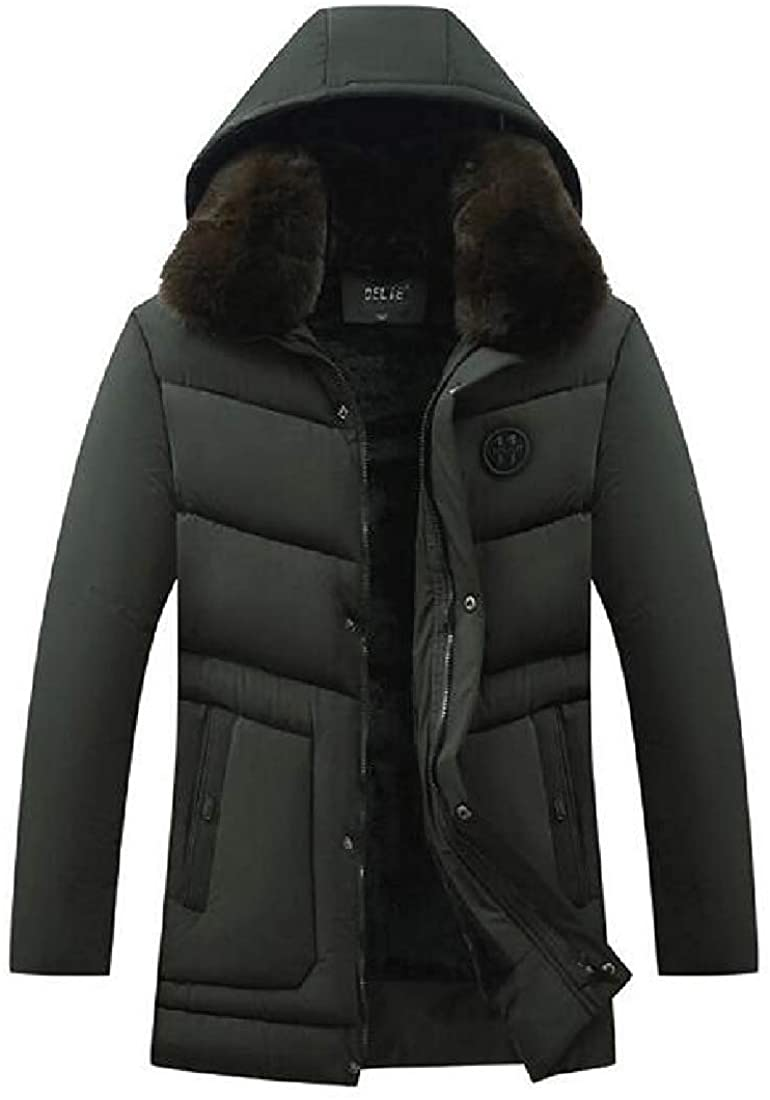 Gjkhsdfkj Men Down Quilted Jacket Fleece Lined Winter Hooded Down Quilted Coat Jacket Outwear,Army Green,US-M