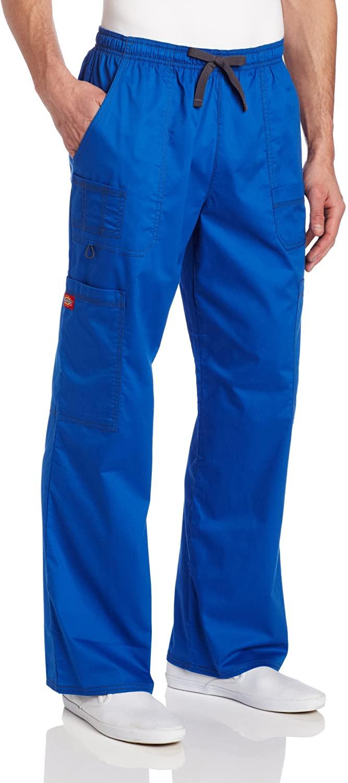 Dickies Men's GenFlex Utility Drawstring Cargo Scrubs Pant, Royal Blue, Medium