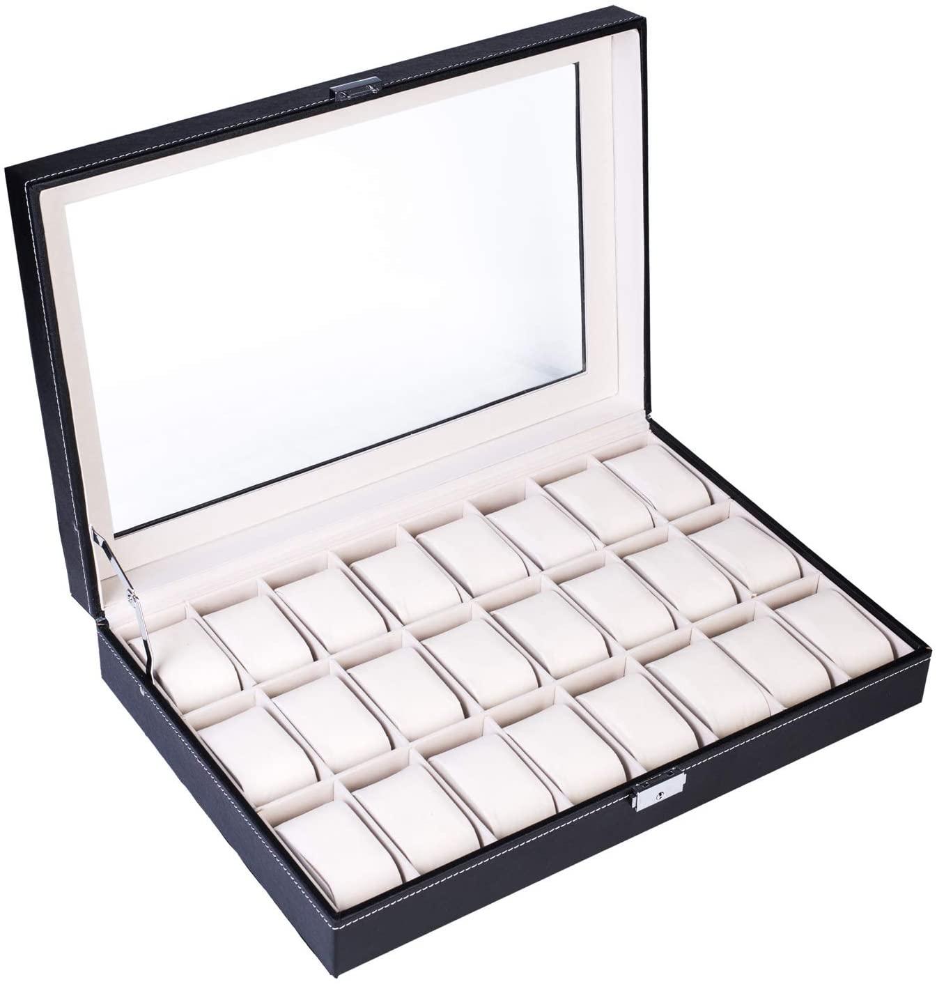 RIYIFER 24 Slots Watch Box, Watch Display Case High-Grade Leather Materia Watch Organizer for Men and Women Birthday Presents - Black