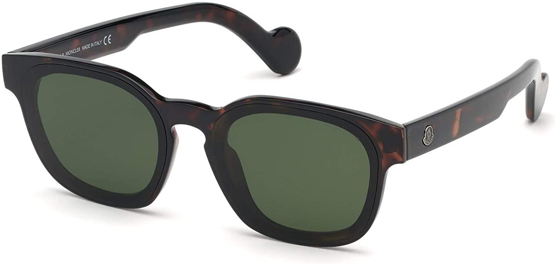 Sunglasses Moncler ML 0086 52N Shiny Dark Havana/Green Lenses
