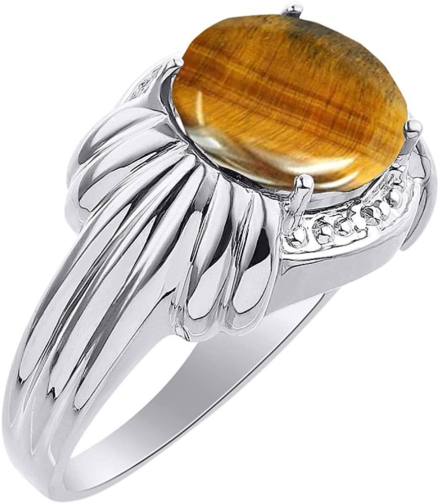 Diamond & Tiger Eye Ring Set In 14K White Gold - 12 X 10MM Color Stone Birthstone Ring