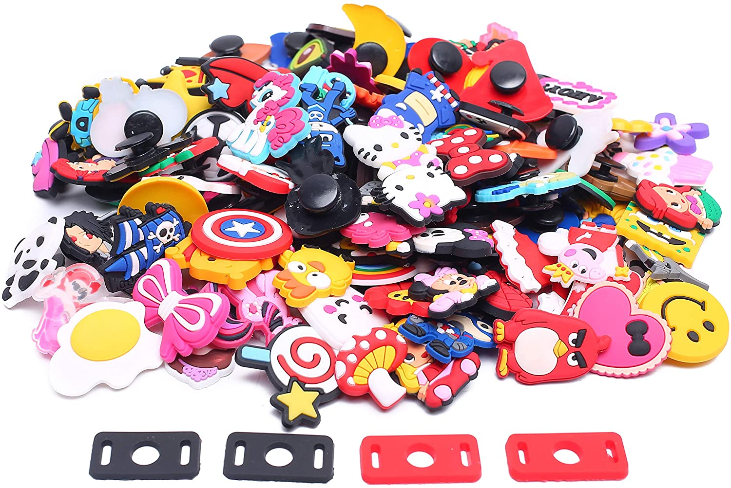 TANSWEET 100pcs Different Shape Disney Jibbitz for Croc Charms Peppa Pig for Teen Girls and Boys + 4pcs Shoe Lace Adapters Fits for Croc Clog Shoes Decorations Wristband Bracelet Party Gifts