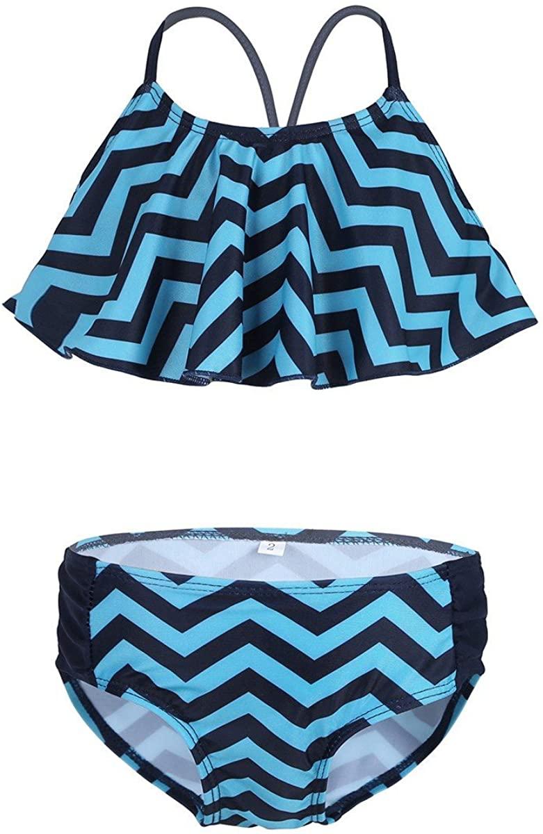 TiaoBug Kids Girls Zig-Zag Pattern 2Pcs Swimsuit Tops & Bottoms Tankini Bathing Suit