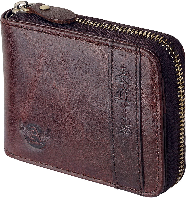 Admetus Men's Genuine Leather Bifold Zip-around Wallet with Elegant Gift