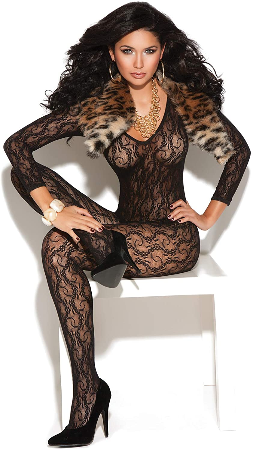 Zabeanco Long Sleeve Lace Bodystocking with Open Crotch