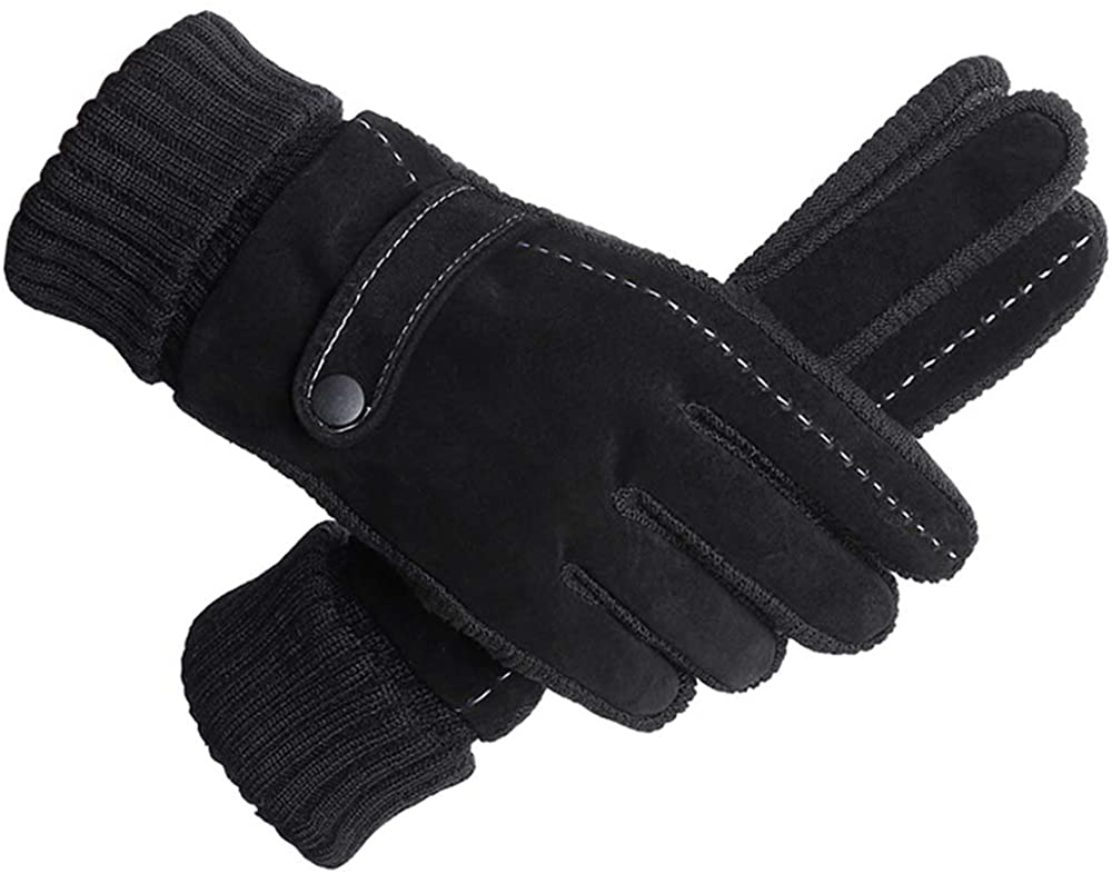 takemay Winter Gloves for Men, Touchscreen Fingers Thermal Warm Lining Windproof Elastic Knit Anti-slip Gloves Black