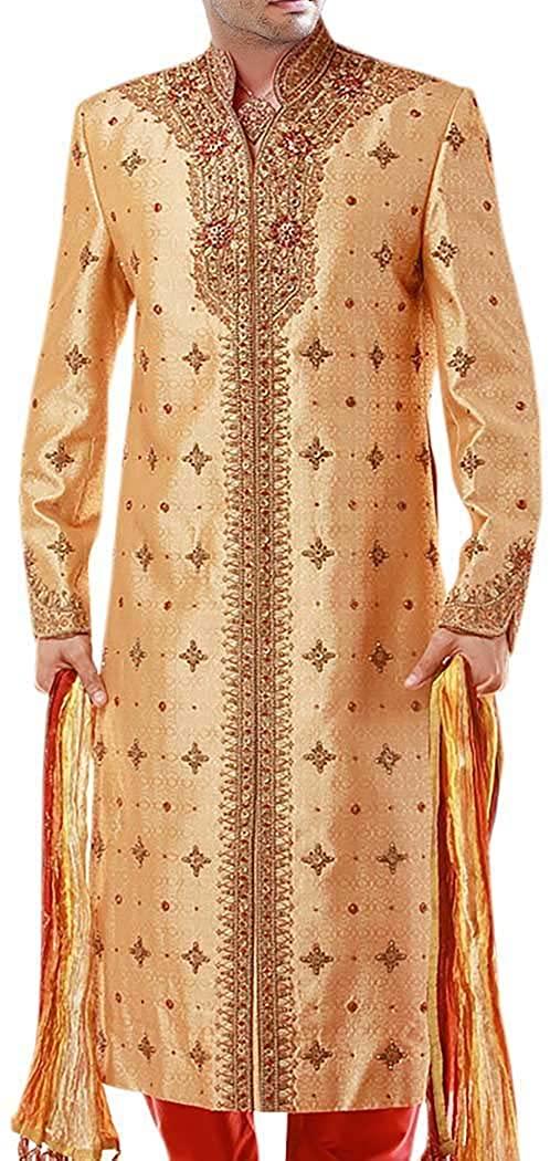 INMONARCH Mens Sherwani Golden Dupion Sherwani forMen Indian Wedding SH0197