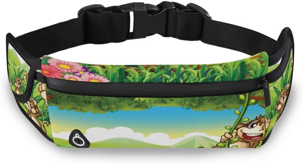 Illustration Of Monkeys Playing In The Forest 2090 Travel Waist Bag Fashion Bags For Teen Girls Waist Pack For Kids With Adjustable Strap For Workout Traveling Running