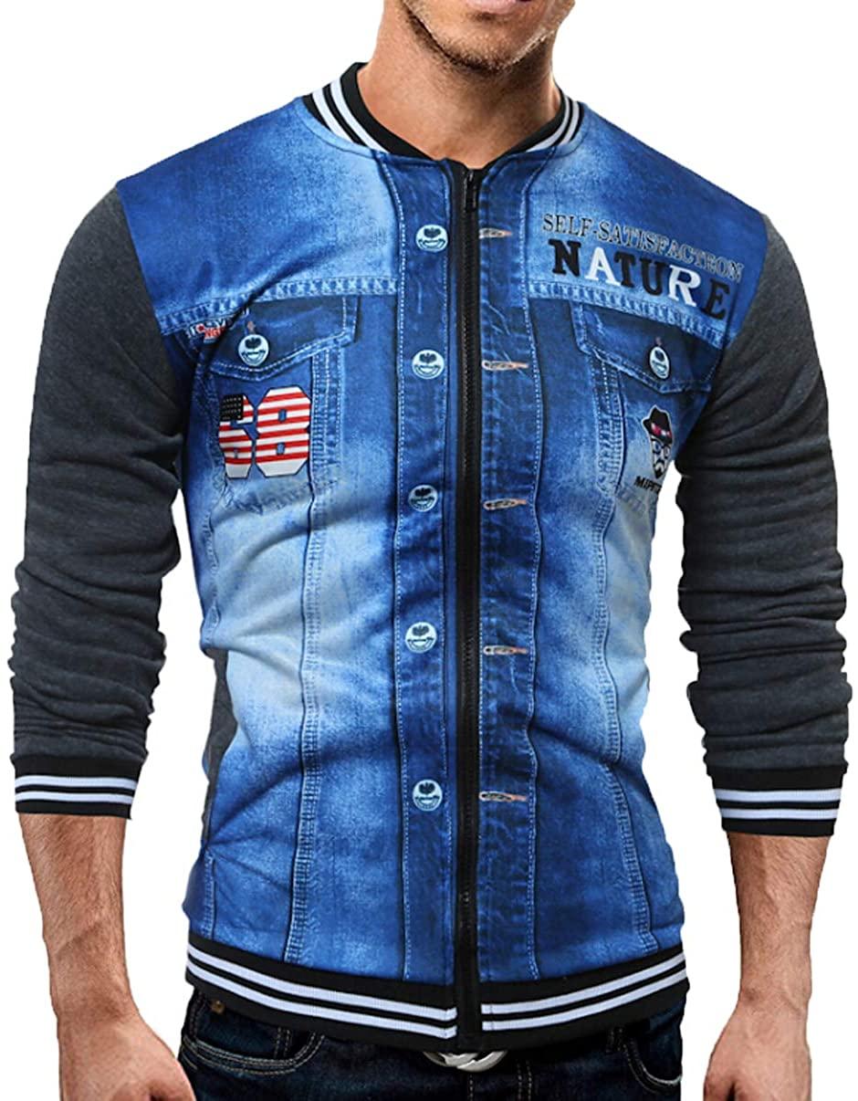 itifu Men 3D Print Full Zip Patchwork Long Sleeve Sweater Coat Baseball Uniform Jacket