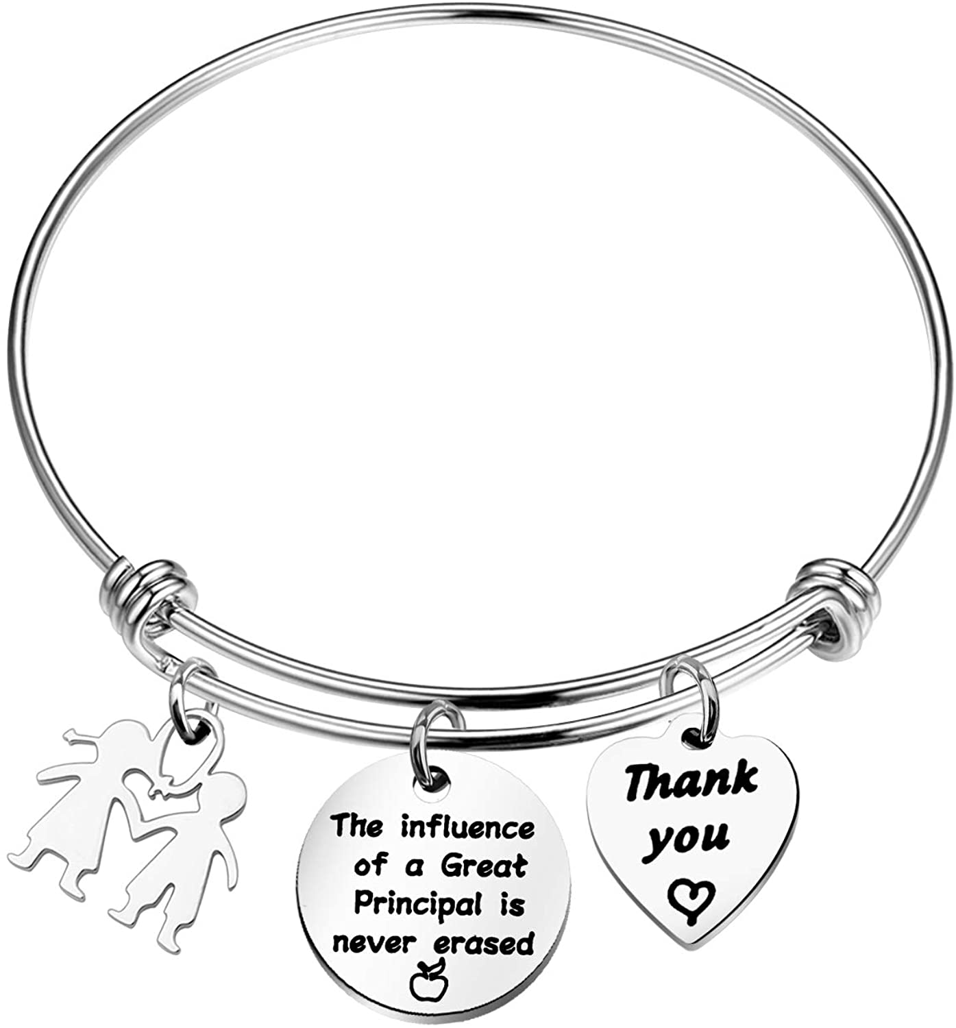 HOLLP School Principal Keychain Principal Retirement Gift The Influence of a Great Principal is Never Erased with Kids Charm Keyring Assistant Principal Gifts for Principal Appreciation