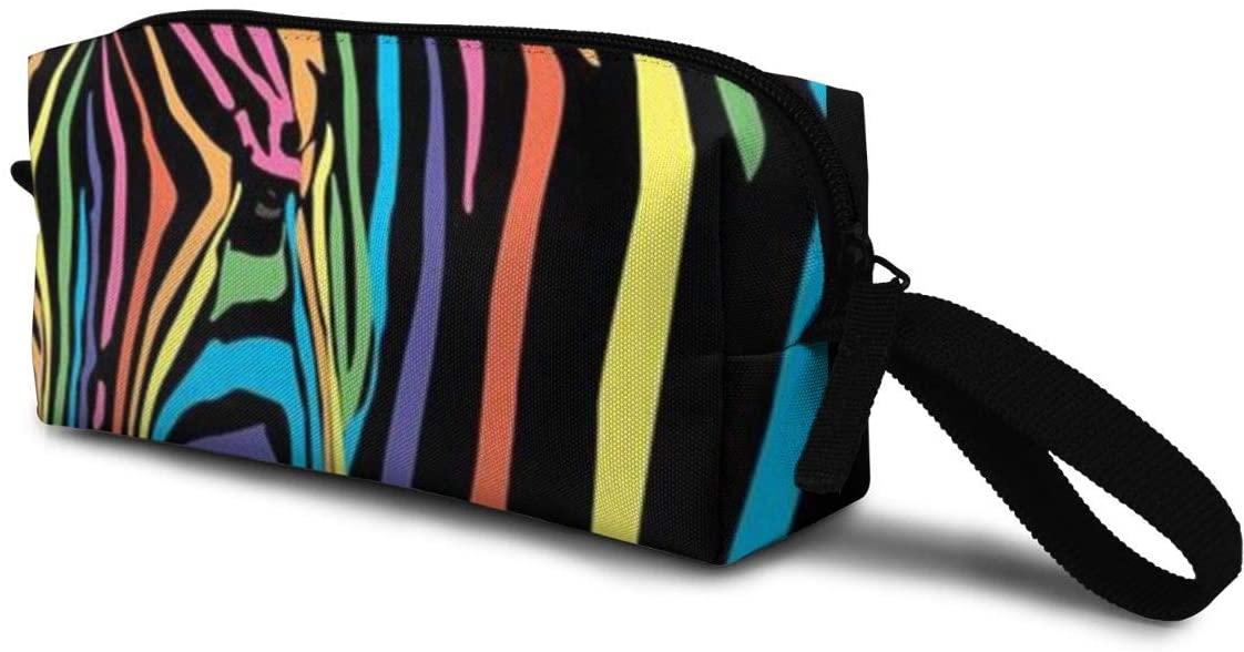 T-JH Colorful Zebra Mini Makeup Bag,Portable Cosmetic Bag,Organizer,Toiletry Handbag,Storage Capacity Bags,Storage Pouch for Women Purse