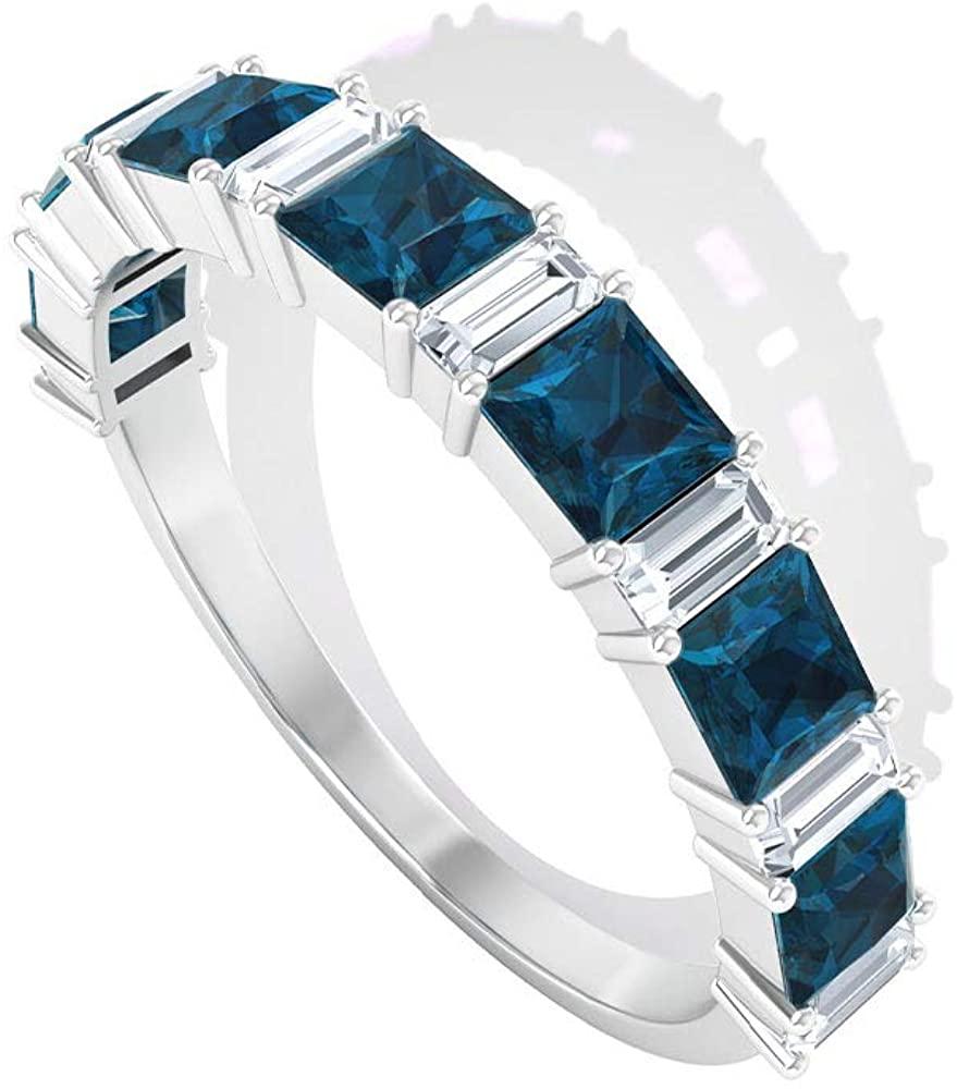 0.77 Ct Princess Cut Blue Topaz London Gold Ring, 0.4 Ct IGI Certified Baguette Shape Diamond Ring, IJ-SI Color Clarity Diamond Gemstone Eternity Ring