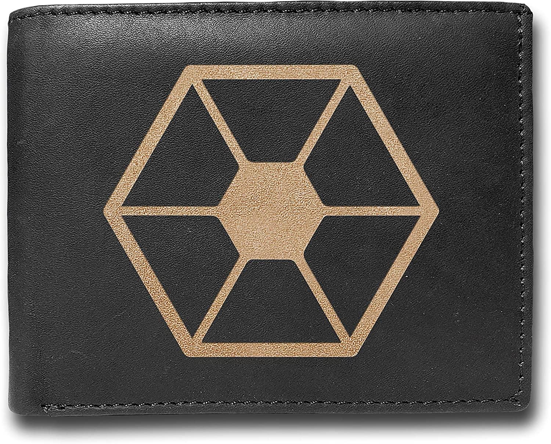 Separatists Cowhide Leather Laser Engraved Engraving Slimfold Mens Large Capacity Luxury Wallet Purse Minimalist Sleek and Slim BLACK Credit Card Holder Organizer 14 Pockets