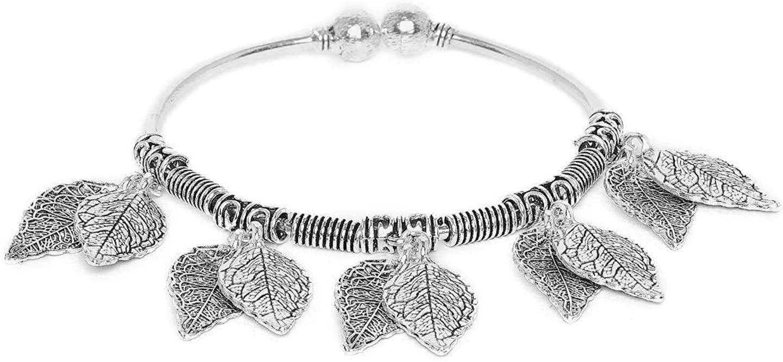 zerokaataFashion Jewellery Designer Leaves Oxidized Silver Charm Bracelet for Women & Girls