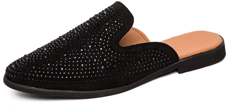 Zhukeke Men's Slip-on Casual Half Loafers for Men Leisure Dress Slipper Shoes Backless Synthetic Leather Rhinestone Decor Antislip Sole Wear-Resistant Fashion (Color : Black, Size : 7.5 M US)