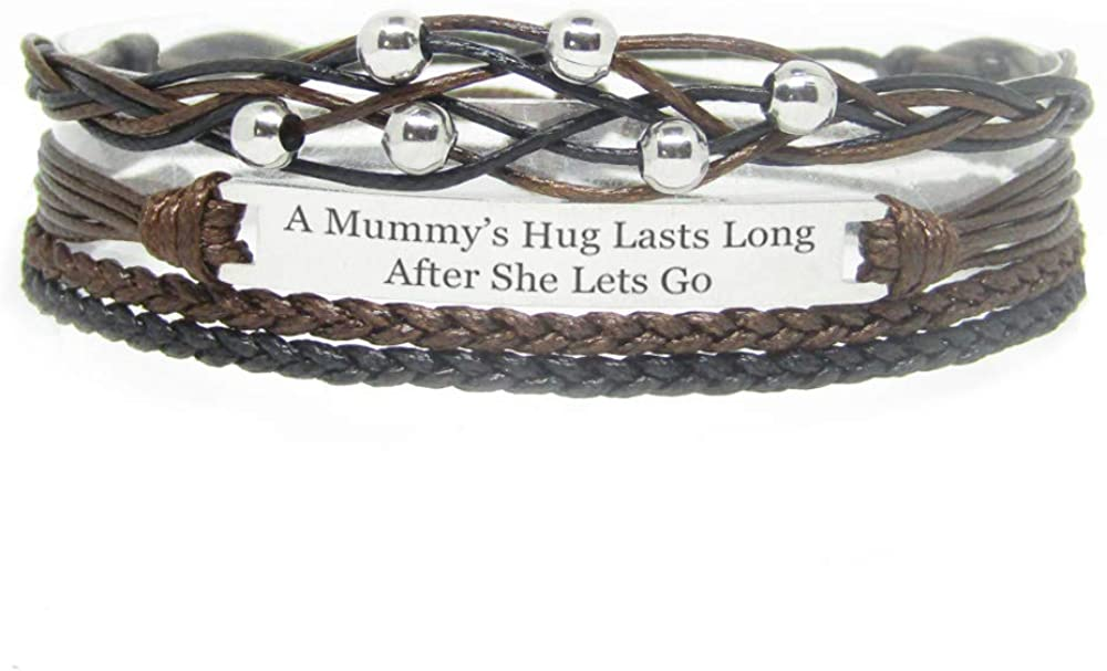 Miiras Family Engraved Handmade Bracelet - A Mummy's Hug Lasts Long After She Lets Go - Black - Made of Braided Rope and Stainless Steel - Gift for Mummy