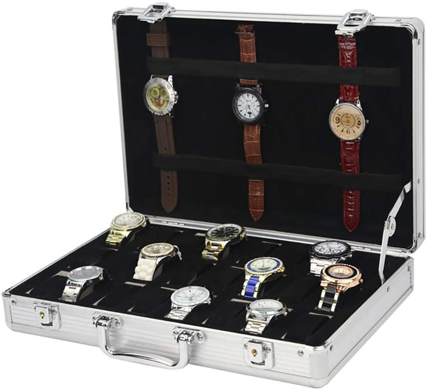 TOPYL 24 Slot Watch Box Watch Display Case Aluminum Handle Jewelry Storage Case Organizer Large Holder Velvet Pillow with Metal Buckle Lock and Key Silvery 15x10x3inch