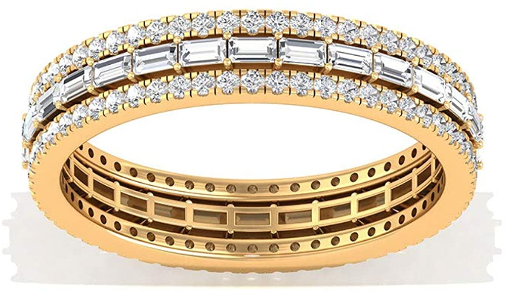 IGI Certified Baguette Diamond Eternity Ring, Wide Diamond IJ-SI Color Clarity Wedding Band, Stackable Anniversary Promise Ring, Valentine Gift, 14K Yellow Gold, Size:US 6.5