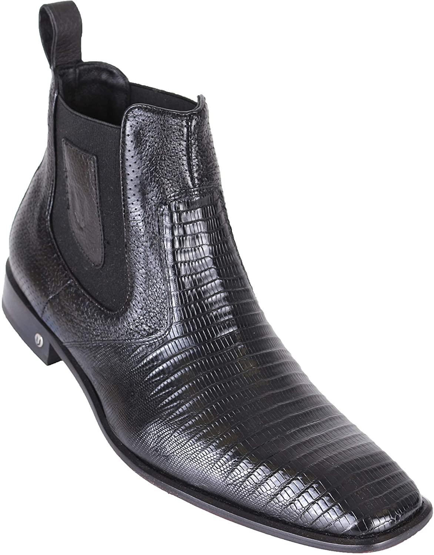 Vestigium Men's Genuine Lizard Exotic Shoes Color Black Botines Piel Exotica
