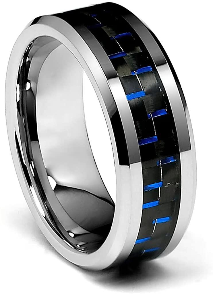 TWJC 8mm Blue Carbon Fiber Men's Tungsten Wedding Band