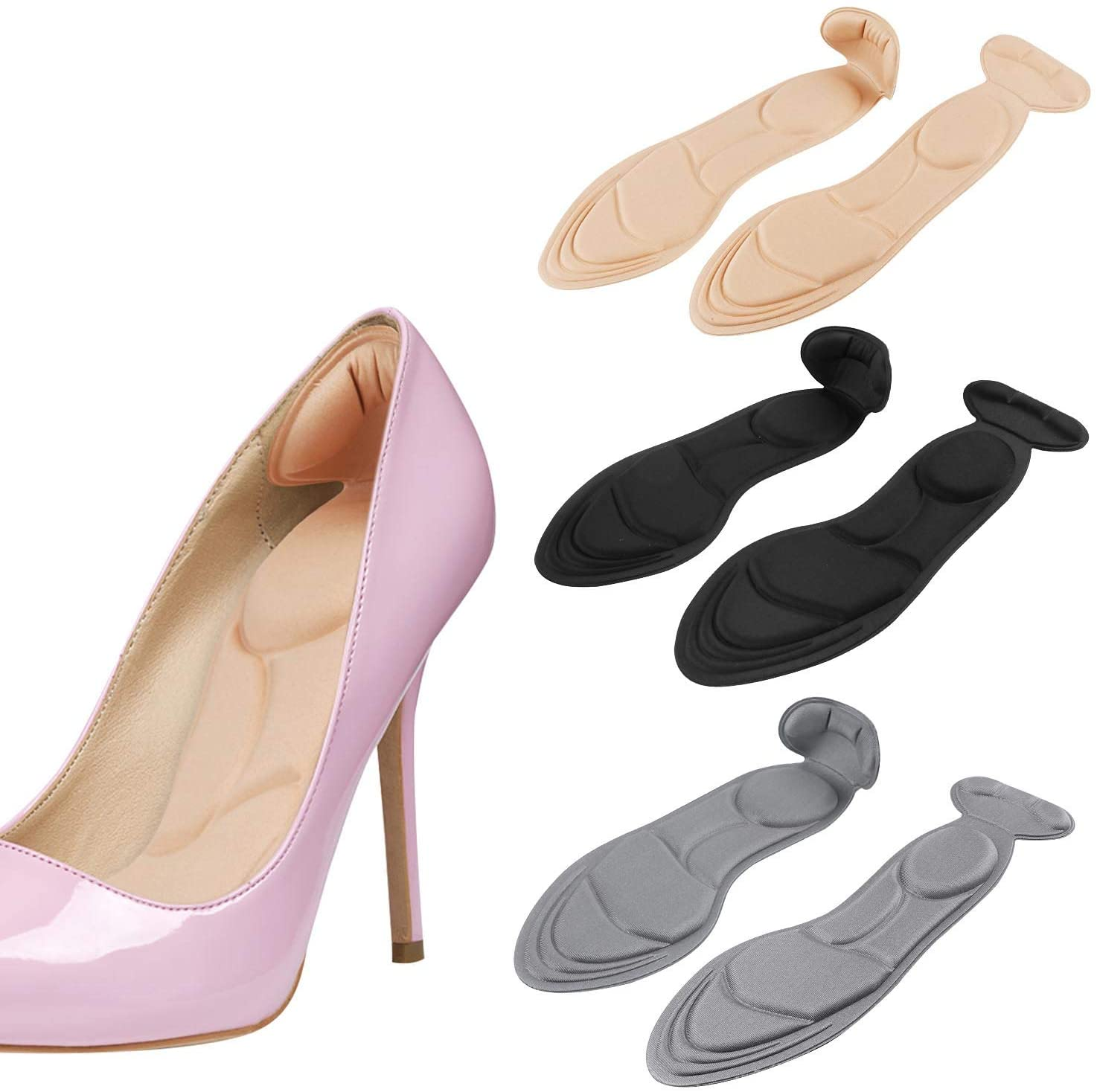 2020 New Heel Insoles, Shoe Insoles, Heel Cushions, Sponge Shoes Pads with High Heel Inserts for Loose Shoes, Metatarsal Pain, Arch Pain, Foot Pain, Heel Sore and Heel Spurs (Women 4.5-9.5)