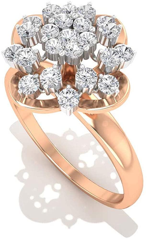 Vintage 0.43 CT IGI Certified Diamond Flower Engagement Ring, Bridal Wedding Promise Matching Ring Sets, Minimal Statement Anniversary Mother Day Ring