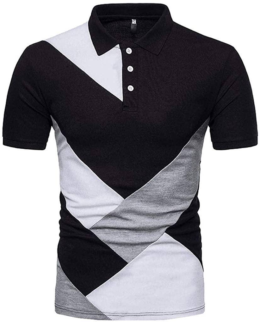 ZEFOTIM Fashion Personty Men's Casual Slim Short Sleeve Patchwork T Shirt Top Blouse