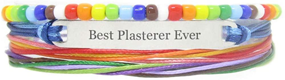Miiras Handmade Bracelet for LGBT - Best Plasterer Ever - Rainbow - Made of Braided Rope and Stainless Steel - Gift for Plasterer