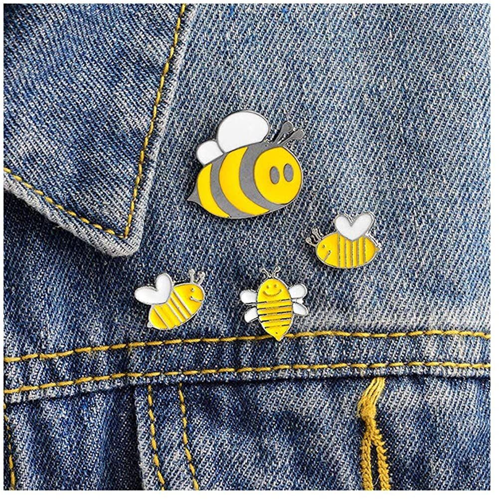 Ailiessy Cute Honey Bee Enamel Lapel Pins Funny Cartoon Insect Bee Wasp Brooches Pins for Women Girls Jacket Sweater Hat Cotated Pins Jewelry 4Pcs Set