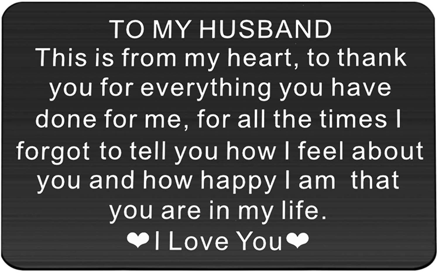 FUSTMW to My Husband Engraved Wallet Insert Husband from Wife for Husband Wallet Love Note Insert