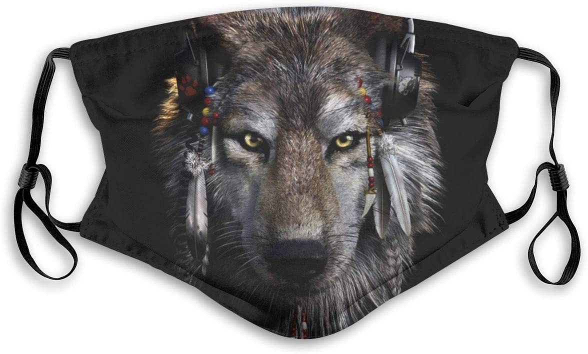 66 CIMIMO Mask Scarves,Wolf Wolves Wolf Bandanas for Men Scarf for Outdoors Sports Neck Gaiter with S Black