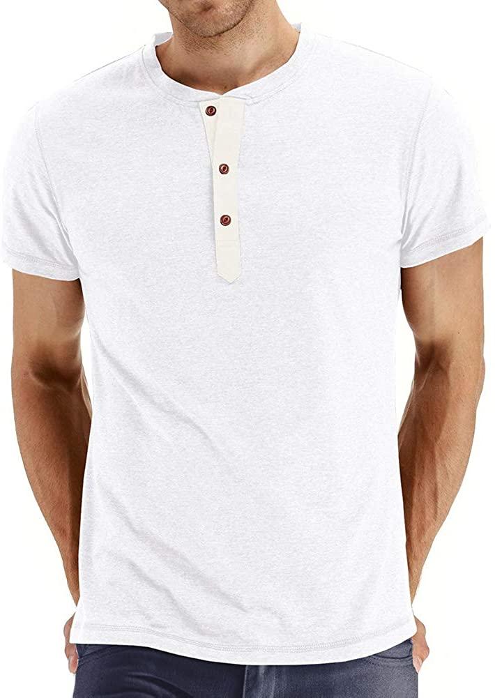 Men's Henley Shirts for Men - MorwebVeo Casual T-Shirts Tops Slim Fit Short Sleeve T-Shirt for Men
