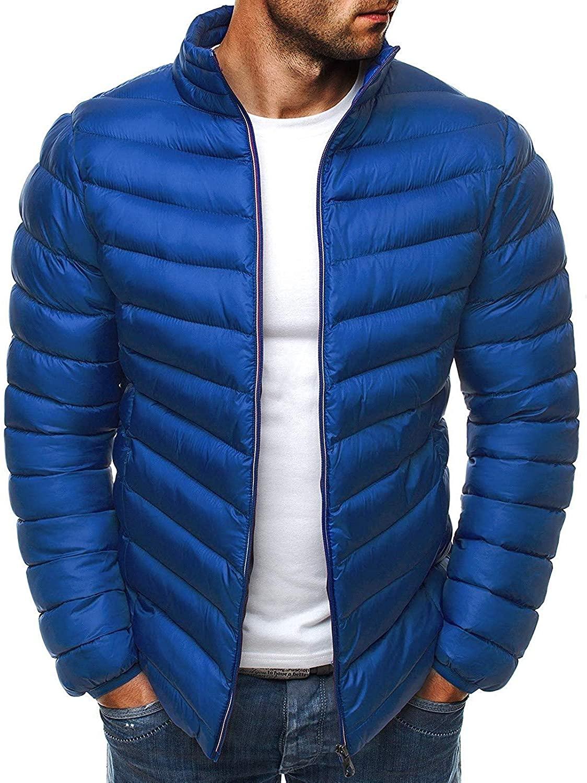 Xudcufyhu Men's Casual Outwear Zipper Stand Collar Coat Lightweight Down Jackets
