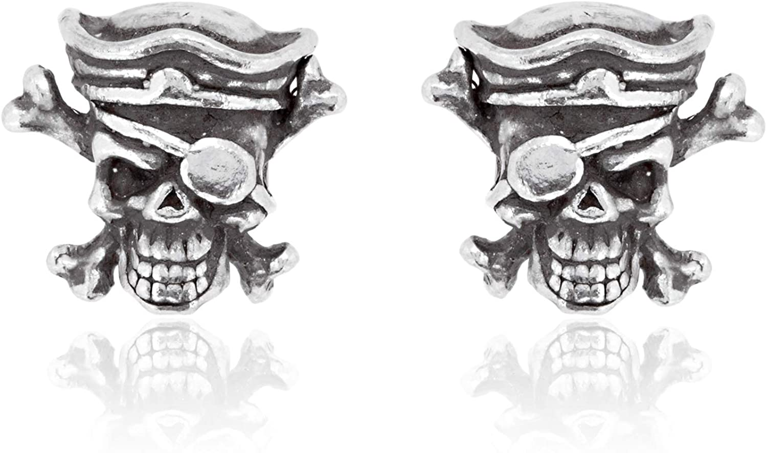 Namaste Jewelers Pirate Skull and Crossbones Earring Studs Pewter Jewelry