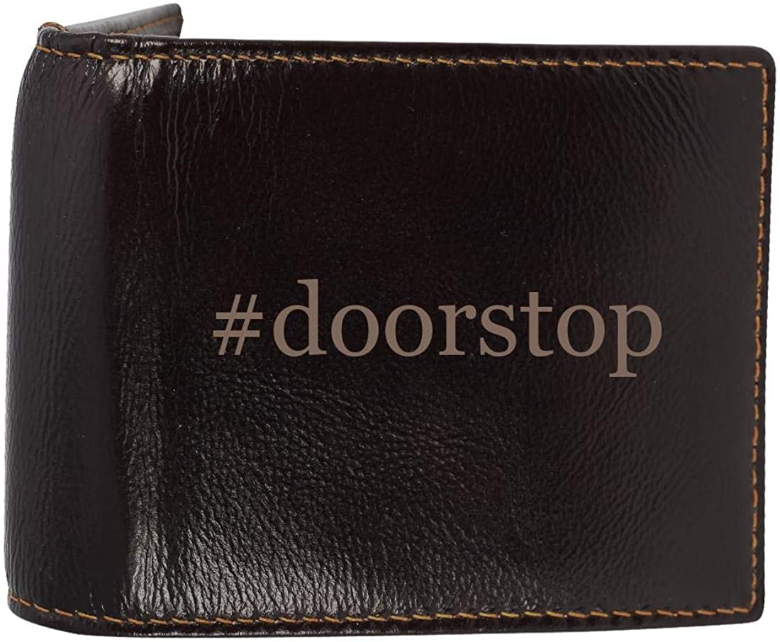 #doorstop - Genuine Engraved Hashtag Soft Cowhide Bifold Leather Wallet