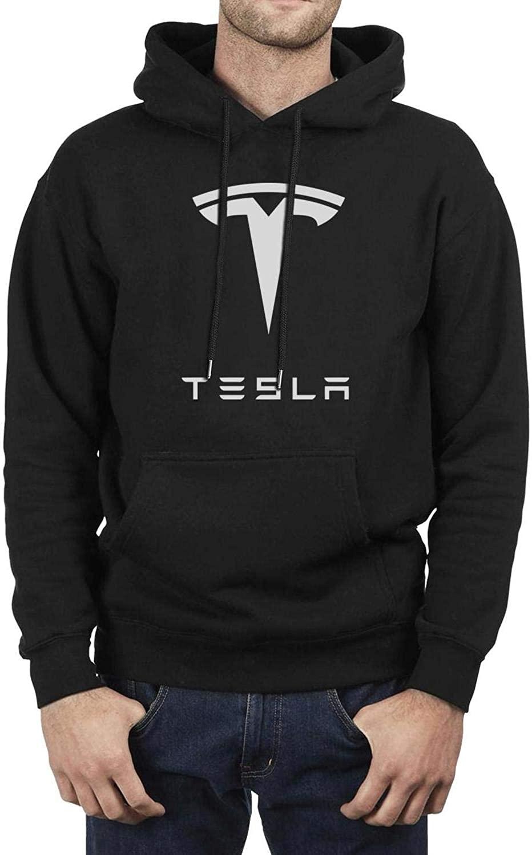 MNYAE Men Cool Hoodies Sweatshirt Tesla-Logo- with Pocket Hoodie Jacket