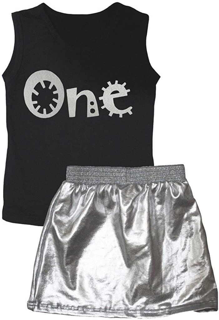 Petitebella Dress Cartoon One Black Vest Silver Skirt Set 1-8y