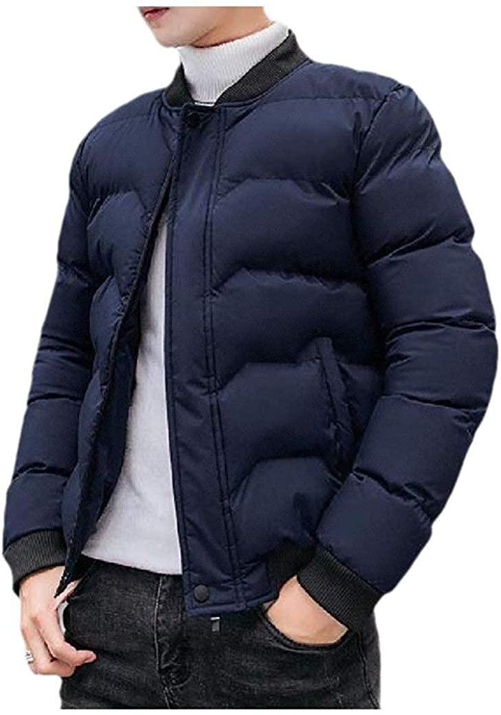 Men Thermal Windbreaker Classic Slim Fit Packable Padded Jackets