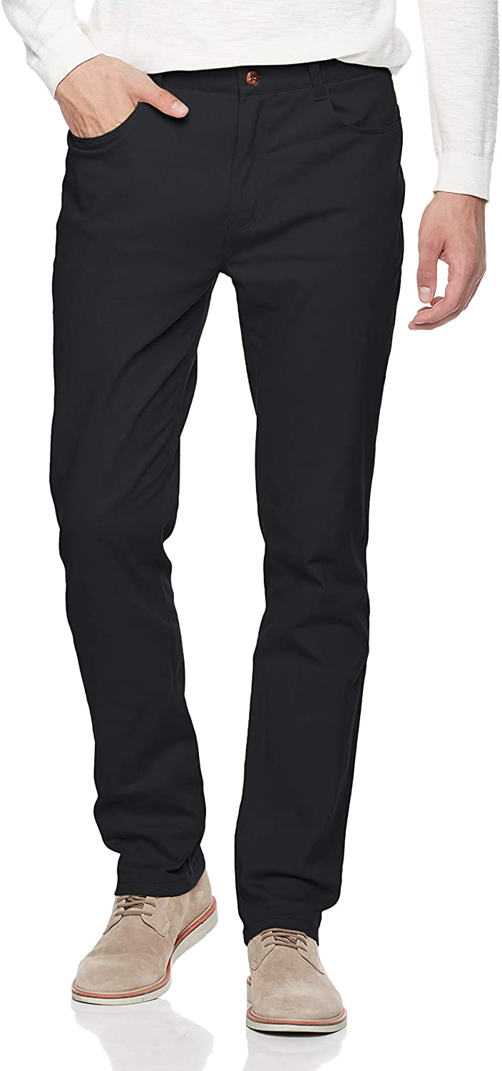 Trimthread Men's Classic Fit Stretch Waist Non-Iron Flat Front Casual Chino Pant