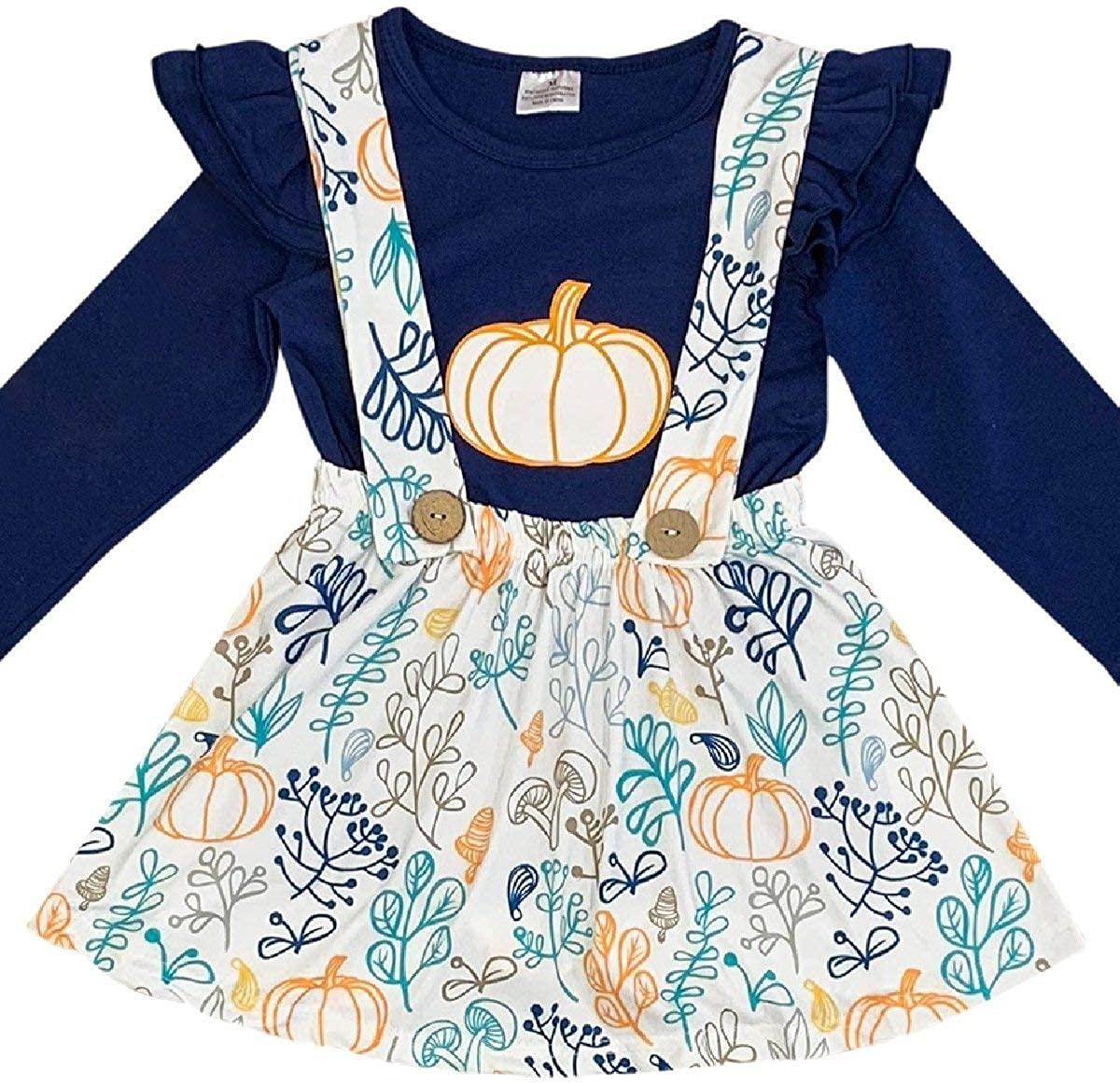 Little Girl 2 Pieces Skirt Set Thanksgiving Pumpkin Top Suspender Dress Set