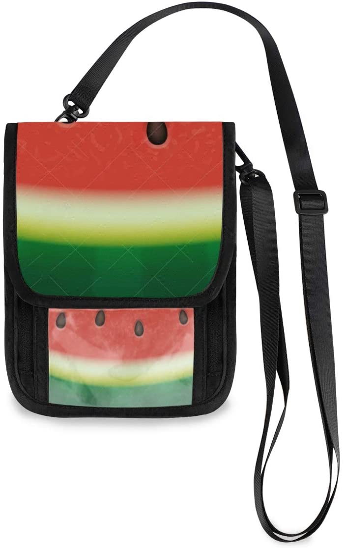 Watermelon Travel Neck Pouch Hidden Passport Holder Wallet Neck Stash Document Organizer For Men Women Family Small Messenger for Passports,Credit ID Cards,Flight Tickets, Money