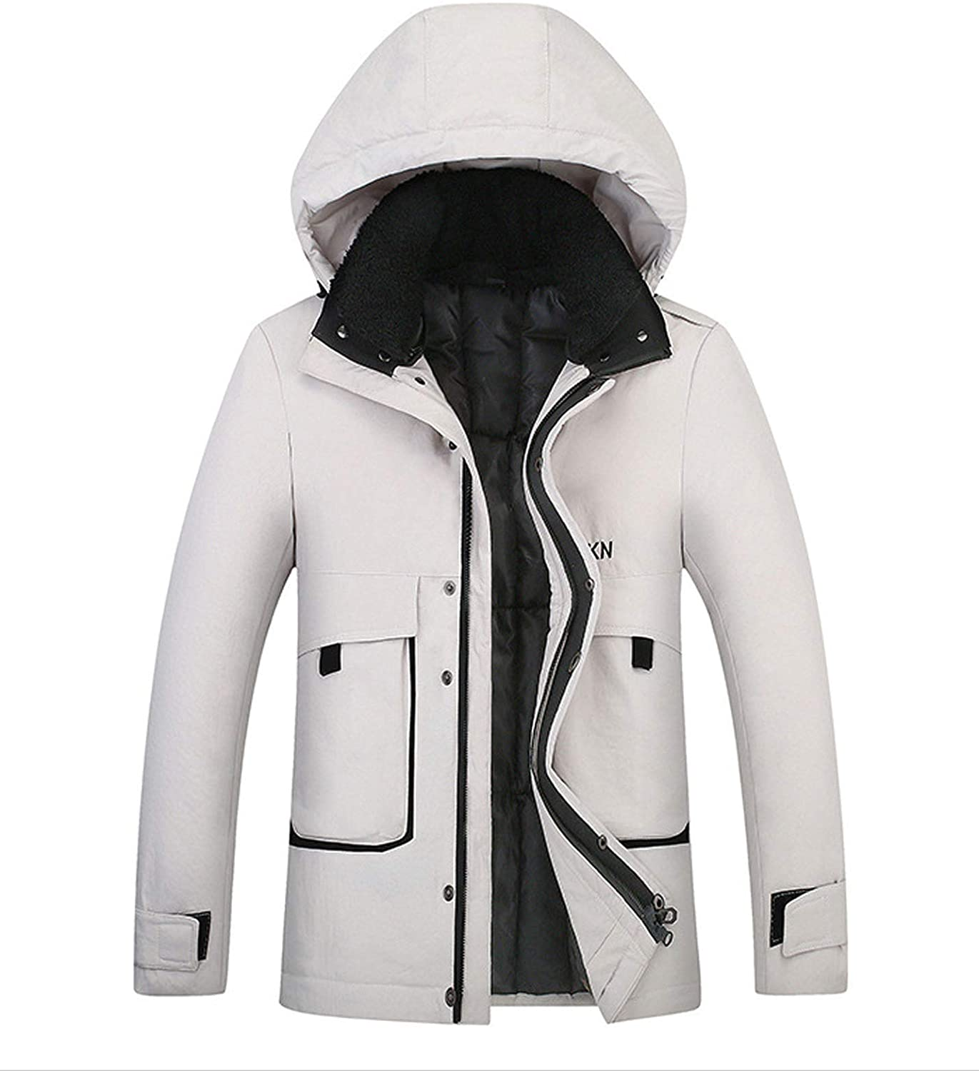 Flygo Mens Hooded Winter Quilted Down Coat Padded Arctic Snorkel Parka Jacket