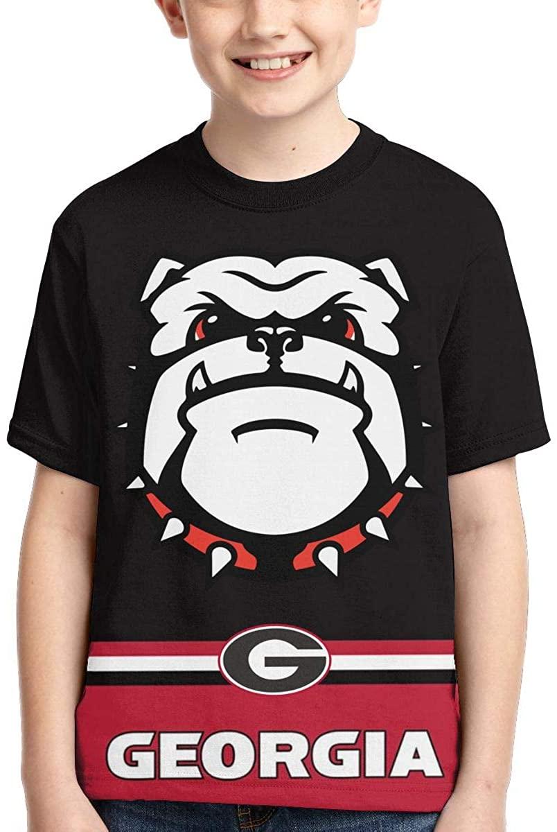 Youth Boys Girls Georgia Bulldogs T Shirt Crewneck Short Sleeve Tees Top Shirt